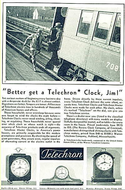 Telechron clocks ad  - 1931 (Image1)