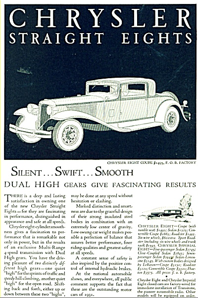 Chrysler Auto And Dodge Automobile Ad - 1931