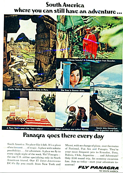 Fly Panagra To South America Ad - 1966