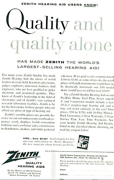 Zenith Quality Hearing Aids Ad - 1957