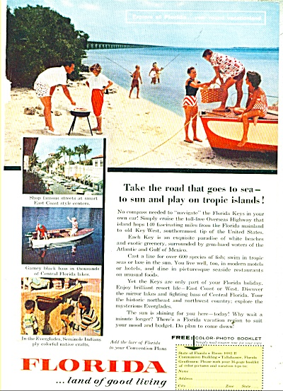 Florida state travel brochure ad - 1957 (Image1)