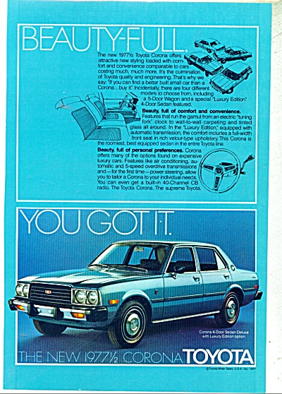 Toyota Corona 4 door sedan ad - 1977 (Image1)