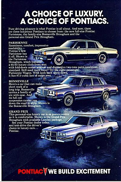 Pontiac automobiles ad in 1983 (Image1)