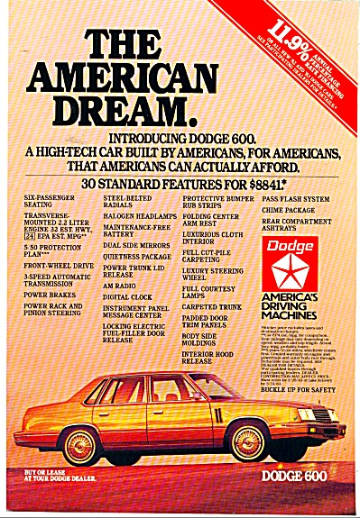 Dodge 600 automobile ad - 1982 & 1983 (Image1)