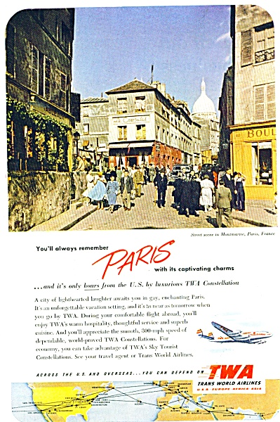 TWA - Trans World airlines ad - 1952 Paris (Image1)