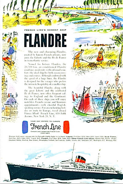 1952 French Line FLANDRE GAY ENTREE SHIP AD (Image1)