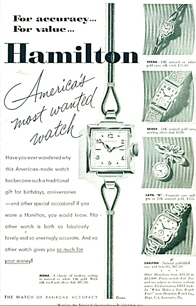 Hamilton Watches ad - 1952 (Image1)