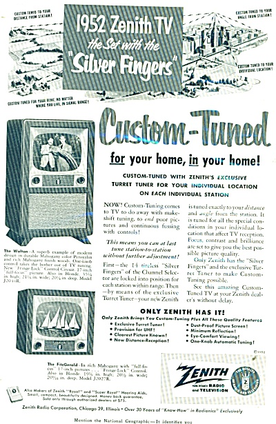 1952 Zenith SILVER FINGERS TV Television AD (Image1)