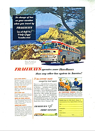 1952 TRAILWAYS BUS LINE AD VINTAGE ART (Image1)