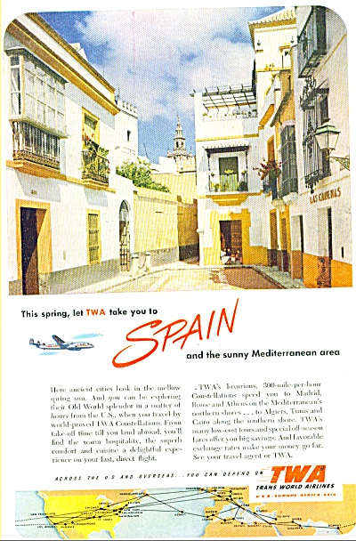 TWA - Trans World Airlines - Spain ad - 1952 (Image1)