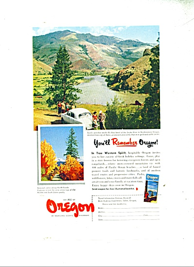 1952 OREGON Vacation Travel AD Ox Bow Bend Sn (Image1)