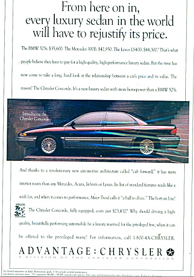 Chrysler luxury sedan Concorde ad - 1992 (Image1)