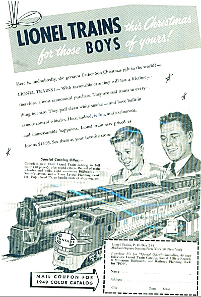 1949 Lionel Train Trains Ad Father - Son Chri