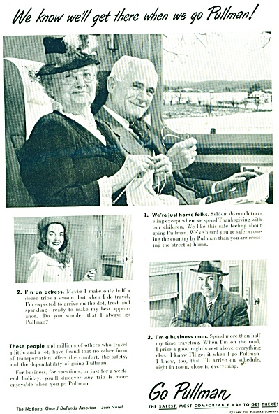 1949 PULLMAN Train AD Elderly Couple Travelli (Image1)