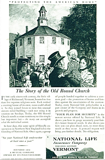1949 OLD ROUND CHURCH VT AD National LIFE (Image1)