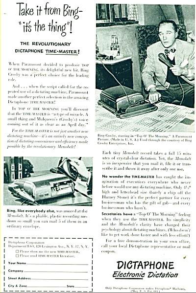 1949 Bing Crosby Dictaphone Dictation Ad