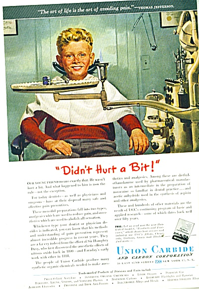 1947 Union Carbide BOY in DENTIST CHAIR AD (Image1)