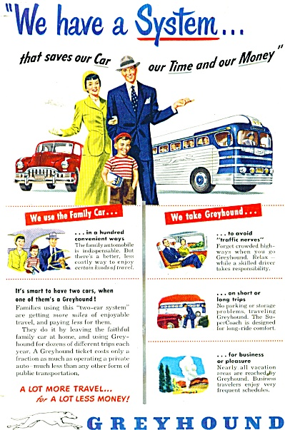 1947 Greyhound Bus Lines AD Family SAVE GAS (Image1)