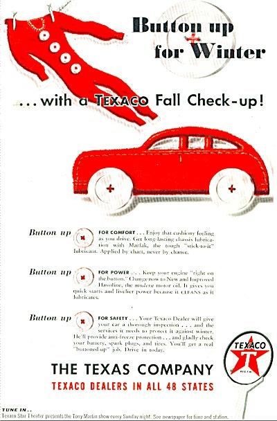 1947 TEXACO OIL LONG JOHNS Button UP AD #2 (Image1)