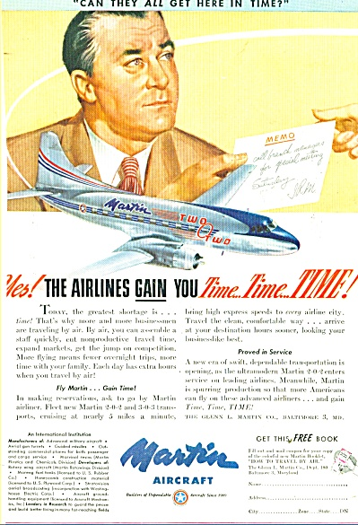 1947 Martin Aircraft Ad Two O Two Airplane