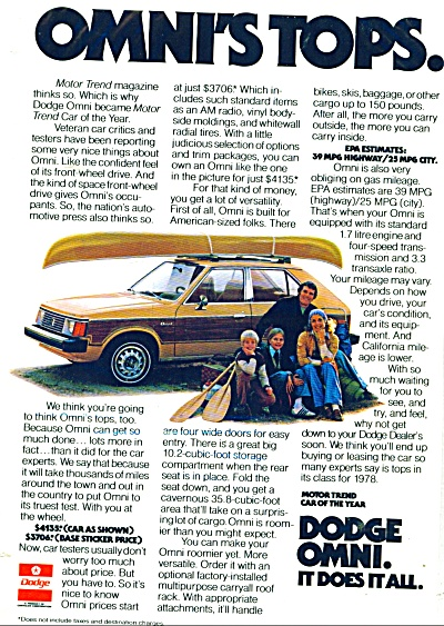 Dodge Omni auto for 1978 ad (Image1)
