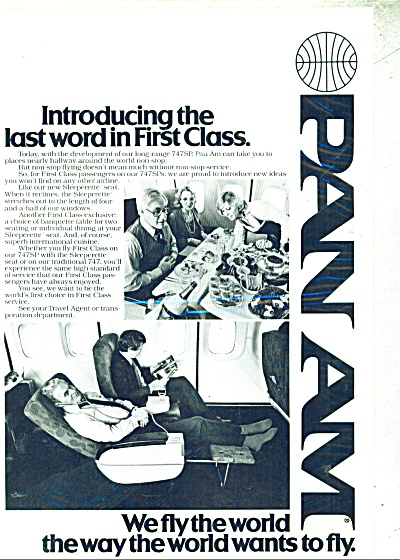 1979 Pan Am Airways Ad Fly First Class