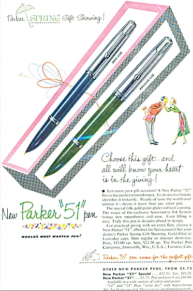 New Parker 51 Pen Ad - 1952 Heart Giving