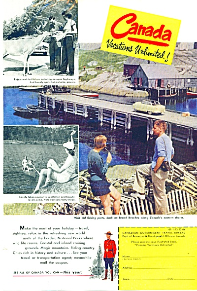 Canada vacations unlimited ad  - 1952 (Image1)