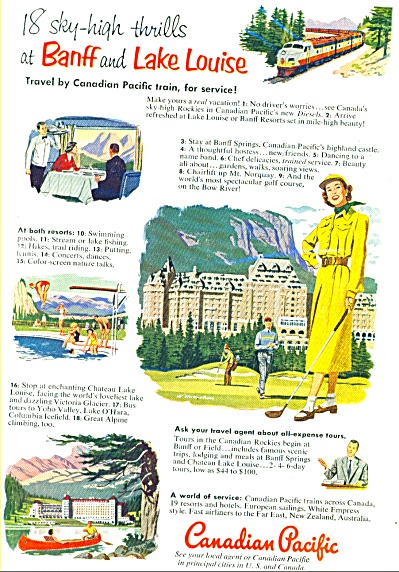 1952 Canadian Pacific TRAIN AD MONAHAN ART (Image1)