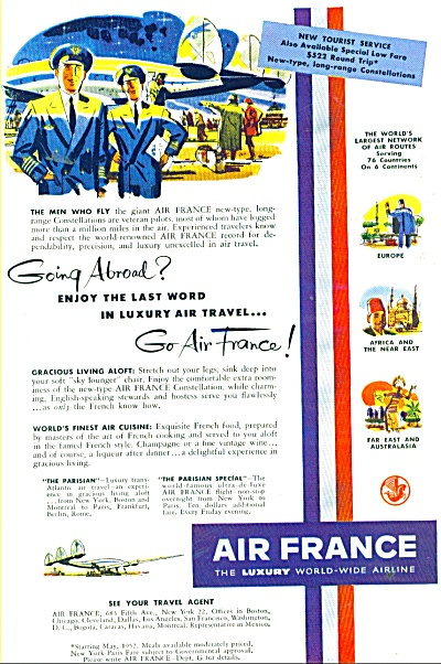 1952 Air France Airlines Travel Ad