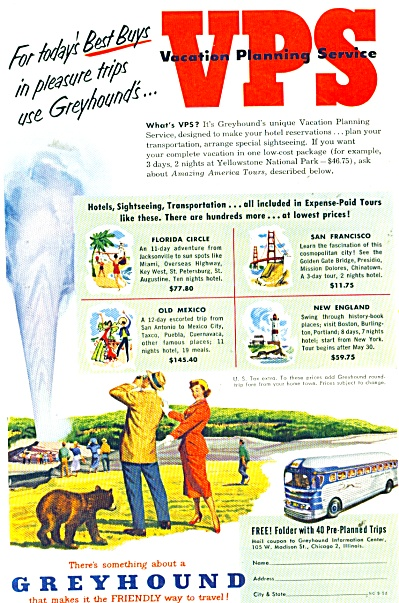 1952 Greyhound Travel BUS LINES AD GEYSER (Image1)