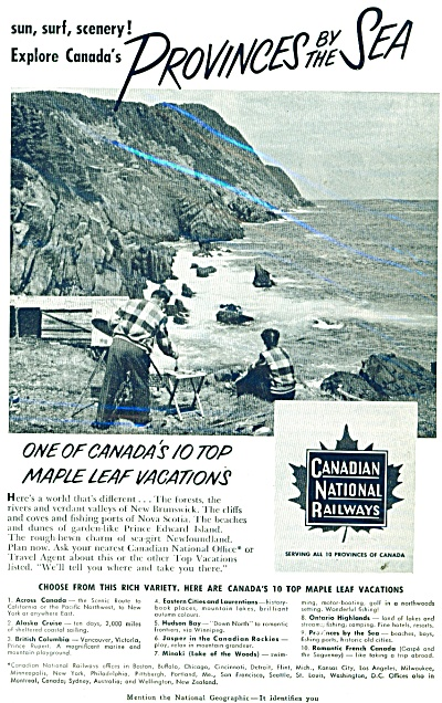 Canadian National railways ad - 1952 EXPLORE CANADA (Image1)