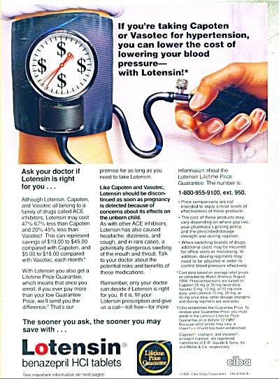 Lotensin benazepril HCI tablets ad - 1995 (Image1)