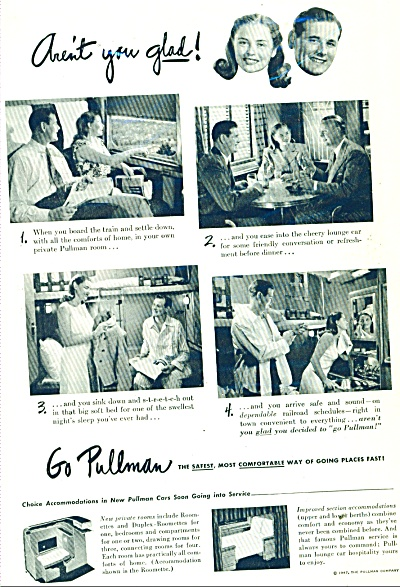 1947 PULLMAN Train AD CHEERY LOUNGE (Image1)