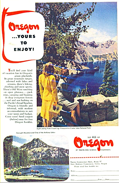 State of Oregon travel ad  1947 (Image1)