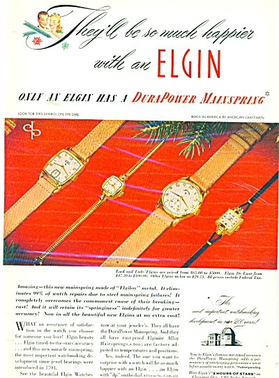 Elgin Watches Ad - 1947
