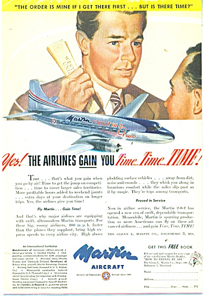 Martin Aircraft Ad - 1947 Fastest Transport Airplane