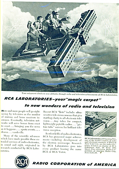 1947 RCA Radio MAGIC CARPET People in Air AD (Image1)