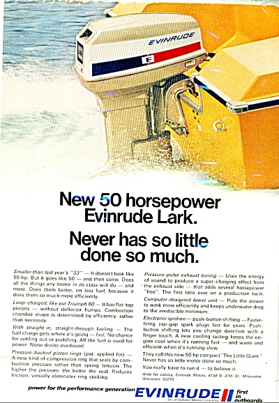 1971 Evinrude OUTBOARD BOAT MOTOR AD 50HP LAR (Image1)