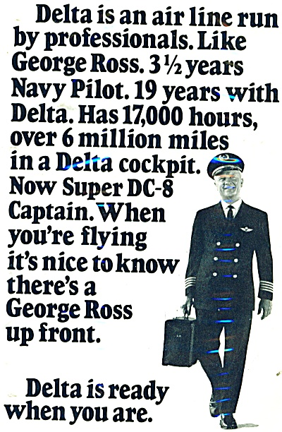 1971 Delta Airlines Ad George Ross Pilot
