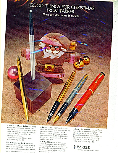 1971 Parker Pen Ad Christmas Models