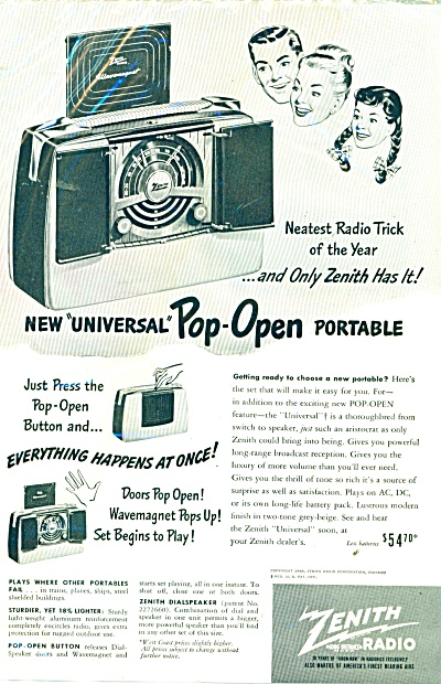 1948 ZENITH Pop Open Portable RADIO AD (Image1)