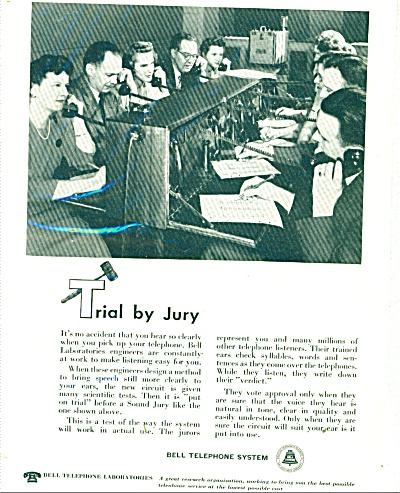 Bell Telephone System Ad - 1948 Trial By Jury