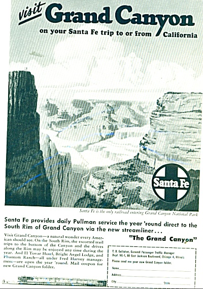 Santa Fe Railroad ad 1947 Grand Canyon (Image1)