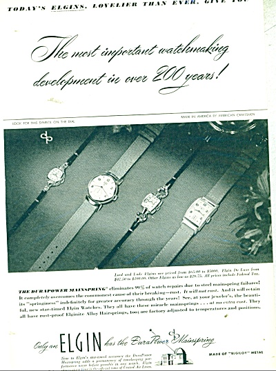 Elgin Watches Ad 1947