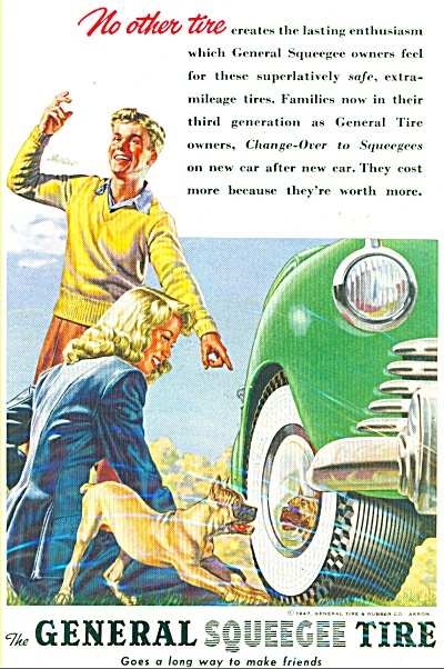 1947 General Tire Ad With Timid Boxer Dog