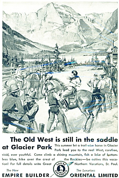 1931 Great Northern Railroad AD OLD WEST ART (Image1)
