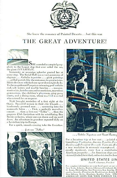1931 United States Lines Ad Vintage Photos