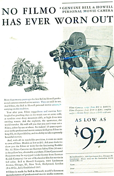 1931 Bell & Howell Personal MOVIE Camera AD (Image1)