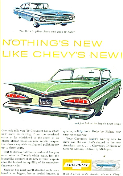 1959 Chevrolet IMPALA BEL AIR CAR AD (Image1)